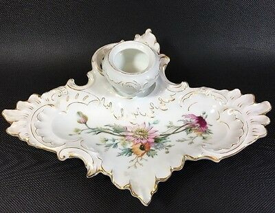 Beautiful Antique Hand Painted Floral Porcelain German Ink Well Tray 1G