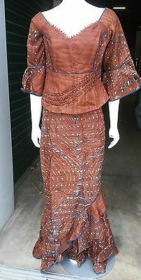 Women African Skirt Suit Attire Outfit Boho Dashiki Ethnic Brown waist 30""