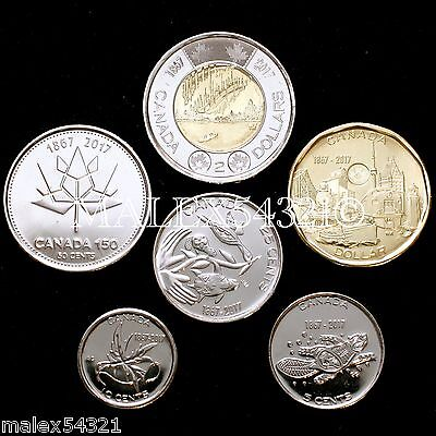 2017 Complete Coin Set 5 Cents To 2 Dollars Uncirculated (6 Coins)