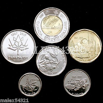 Canada 2017 Complete Coin Set 5 Cents To 2 Dollars Uncirculated (6 Coins)