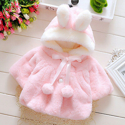 Kids Infant Girls Fur Hooded Winter Warm Coat Cloak Jacket Thick Clothes Baby US