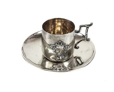 Charles Murat French Sterling Silver Armorial Crest Cup & Saucer, 1897