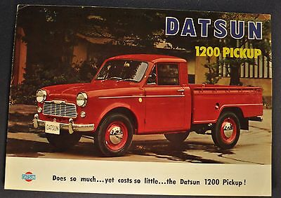 1963-1964 Datsun 1200 Pickup Truck Sales Brochure Folder Excellent Original