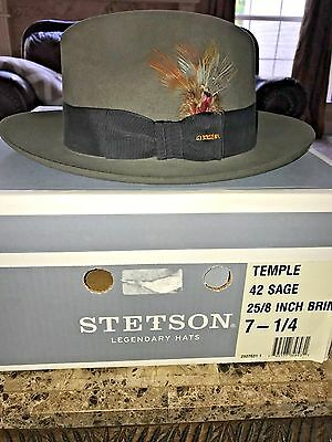 """Stetson """"temple"""" Soverieign Sage Size 7 1/4 Great Dress Fedora!"""
