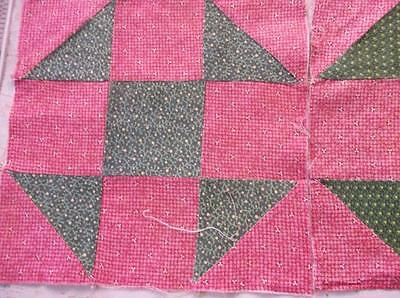 Back In Time Textiles~16 Antique Cinnamon Dble pink over dyed green quilt blocks
