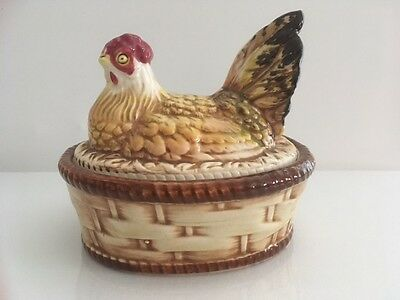 Vintage Ceramic Chicken / Hen in Basket / Nest Egg Holder * 54/10 on bottom *