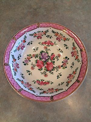 """Pink Vintage Floral Lowestoft Chinese Hand Painted Footed Bowl - 9""""--Beautiful!"""
