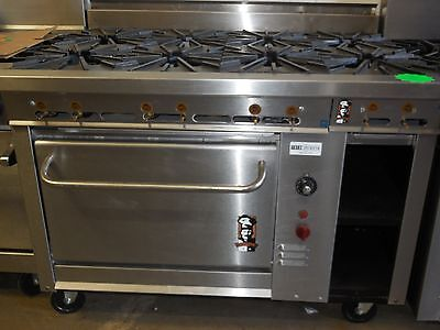 """Used Montague 48"""" Range With 8 Burners, Stnd Oven & 12"""" Storage Cabinet, Nat Gas"""