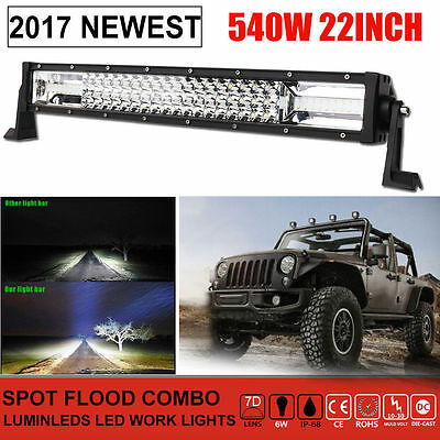 """648W 23 Inch Philips LED Light Bar Combo Offroad 4WD Work Driving Lamp 22""""20"""""""