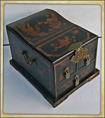 Antique Chinese Rosewood Make-Up Vanity Fold-Up  Mirror Jewelry Box W/3 Drawers