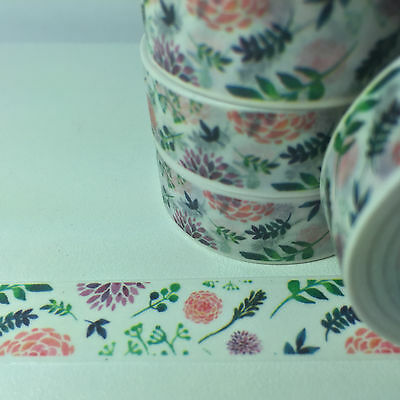 Washi Tape Floral Meadow  15Mm X 10Mtr Planner Craft Scrap Wrap Mail Art