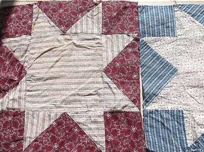 ~Back In Time Textiles~  28 Primitive Antique quilt top blocks loads of very ear