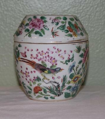 "Antique C 1850 Chinese Esport Rose Madallion Covered Dressing Jar- 4.25"" High"
