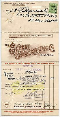 GB 1911 PRINTED RATE 1/2d MULTIGRAPH FORM..EXPERT ADVERTISING..EMPIRE HARTLEPOOL
