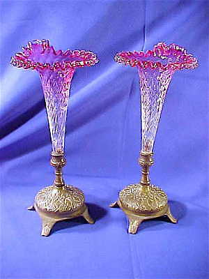 PAIR Antique Victorian Cranberry Art Glass epergnes Moorish bronze mounted WOW!