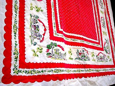 Vintage 40's victorian country life pink Tablecloth