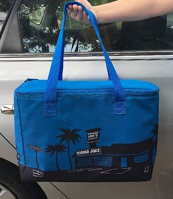 Trader Joe's Blue Insulated Tote / Reusable Grocery Bag Extra Large New