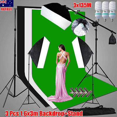 2025W Photo Studio Softbox Lighting Boom Arm Light Stand 3 Backdrops Support Kit