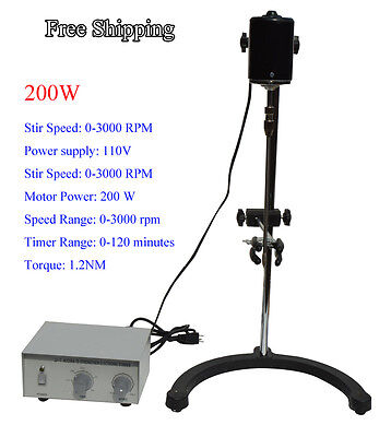 Free Shippng!110v Lab Electric Overhead Stirrer Mixer Variable Speed 200w 1.2N.M