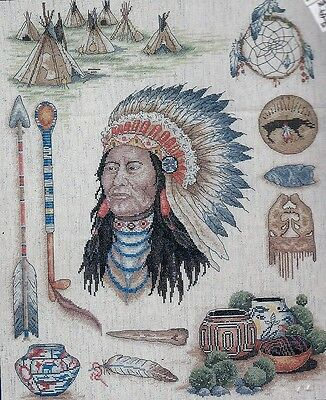 INDIAN CHIEF Cross stitch design kit - 50 x 40 cm - WAS $176-REDUCED SAVE $50.00
