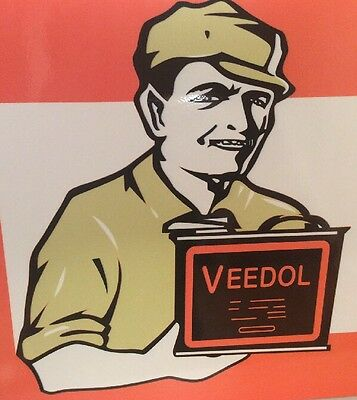 "Vintage Veedol Oil ""give The Film Of Protection"" 24"" X 12"" Porcelain Metal Sign!"