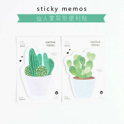 Fresh Cactus Green Plant Love Self-Adhesive Memo Pad Sticky Note Post Planner