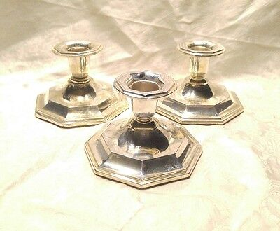 3 Vintage Th. Marthinsen Norway 830S Silver Candlesticks Lot Of 3