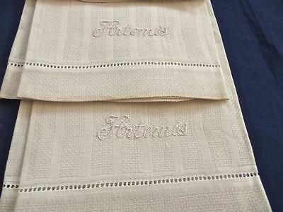 "2 Antique Off-white Huck Damask Stripes Linen Bath Shaving Hand Towels ""Artemis"""