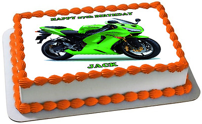 MOTORBIKE A4 PREMIUM Edible RICE WAFER Cake Topper CAN BE PERSONALISED D1