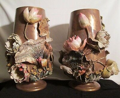 Very Rare Pair of Antique Moore Bros Porcelain Encrusted Lilly Pad Vases