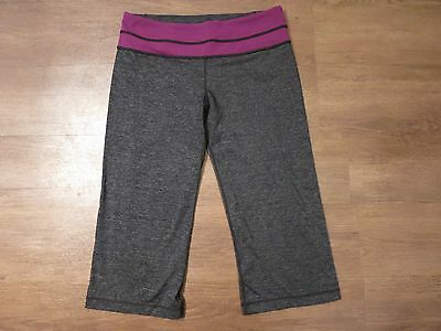 Lululemon Women's Heather Gray/Purple Yoga Athletic Capri Pants Sz 8