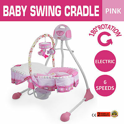 Electric Baby Swing Cradle Six Speeds Pink Portable 180°Rotation Child UPDATED