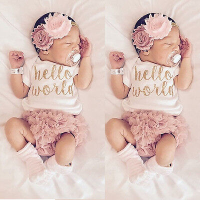 Infant Newborn Baby Girls HELLO WORLD Romper Tops+Pants Bodysuit Clothes Outfits