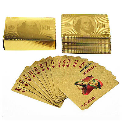 24K Full Of Poker Deck of Gold Foil Dollar Style Poker Plastic Playing Cards