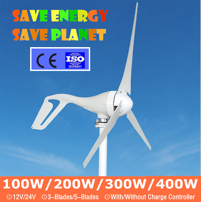100W-400W Watt Small Wind Turbine Generators 12V/24V 3/5Blades Charge Controller