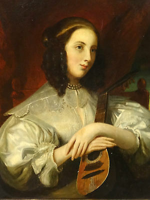 19th Century Portrait of a Lady with Mandolin, Oil on Canvas