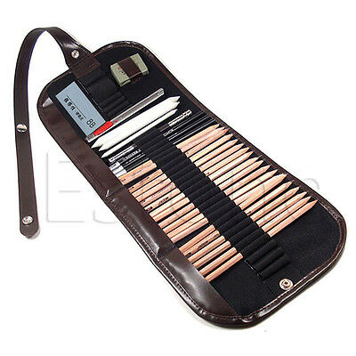 29Pcs/Set Sketch Pencils Charcoal Extender Eraser Paper Pen Cutter Drawing Kit