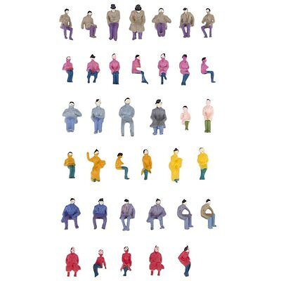 50x Figurines Passengers Seated Painted Miniature Decor fr Train Scale 1:87 W3H5