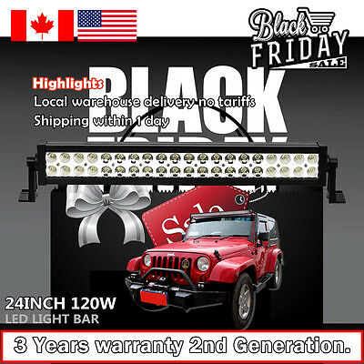24 inch LED Light Bar Spot Flood Combo ATV SUV 4WD Jeep Ford Off Road Truck 20