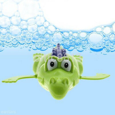 Wind Up Clockwork Cute Crocodile Kid Baby Swimming Favor Bath Time Play Toy AU
