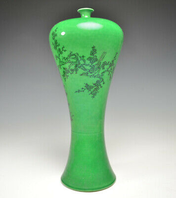 Fine Ancient Chinese Green Glazed Porcelain Bird And Flower Pattern Plum Vase