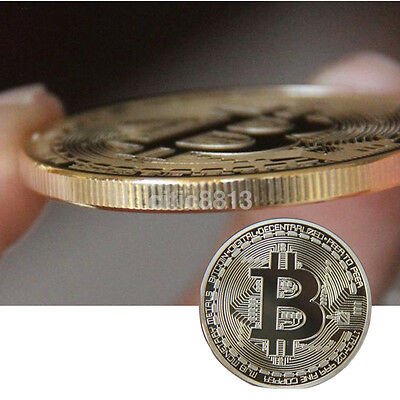 Gold Plated Bitcoin Coin collectible gift Physical BTC Coin Art Collection hwc
