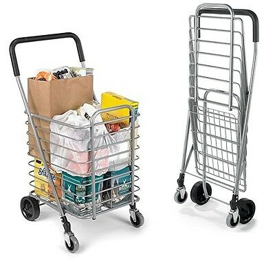 Rolling Shopping Trolley Cart Folding Portable Aluminum Travel Grocery Market