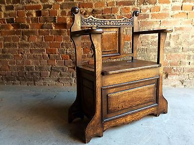 Gorgeous Antique Hall Chair Umbrella Stand Solid Oak Edwardian 20th Century 1900