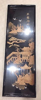 Vintage carved cork chinese wall picture / Sculpture