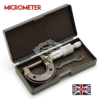 New Engineers 0-25mm Metric External/Outside Micrometer & Case Caliper Measuring