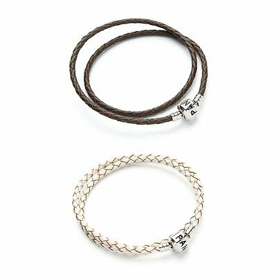 2Pcs Leather Charm Bracelet Double Wrap Love Clasp White Coffee Size:38cm  C9R5