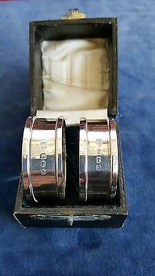 Antique Edwardian pair of Napkin rings(HM birmingham 1913)original box