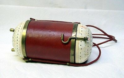 UNUSUAL VINTAGE 1960s ERA LEATHER HANDCRAFTED CYLINDERICAL SHAPE HAND BAG PURSE