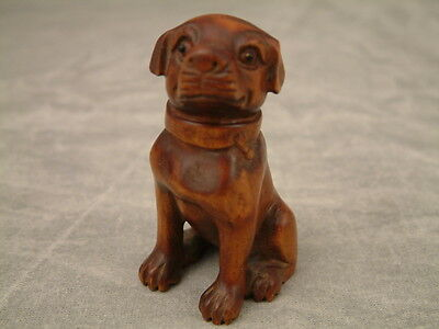 Japanese Netsuke Dog Carving Signed